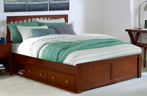 Pulse Mission Bed With Storage - Cherry