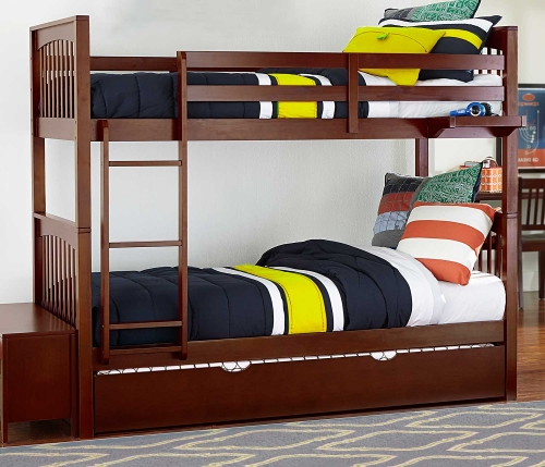 Pulse Twin Over Twin Bunk With Trundle - Cherry