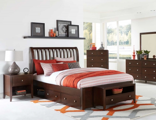 Pulse Rake Sleigh Bedroom Set With Storage - Chocolate