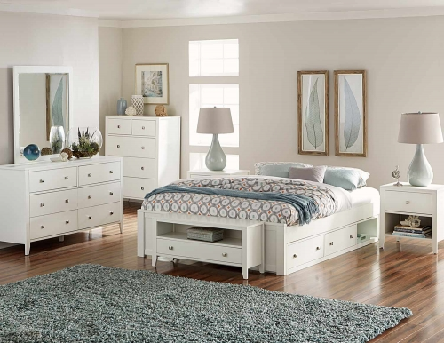 Pulse Platform Bedroom Set With Storage - White