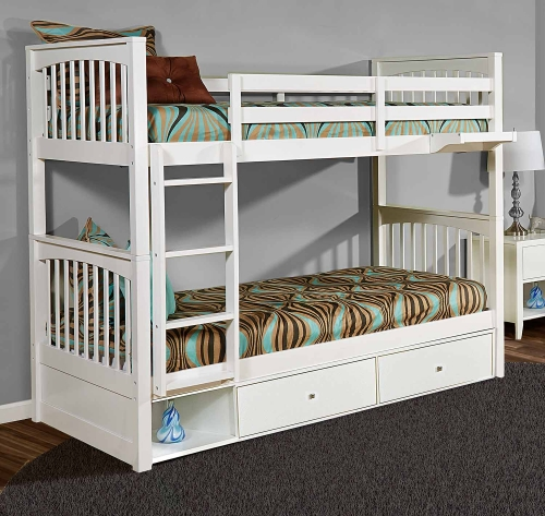Pulse Twin Over Twin Bunk With Storage - White