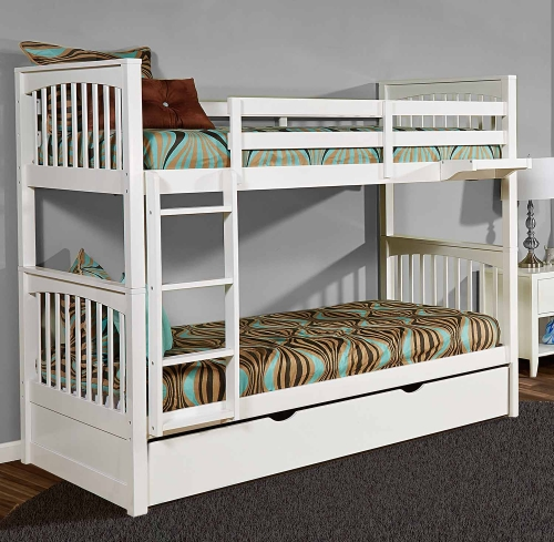 Pulse Twin Over Twin Bunk With Trundle - White