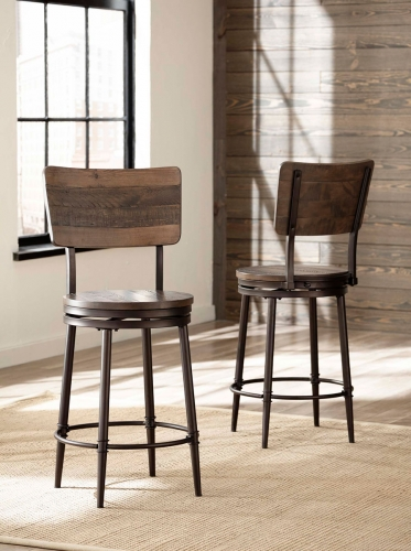 Jennings Swivel Bar Stool - Walnut Wood/Brown Metal