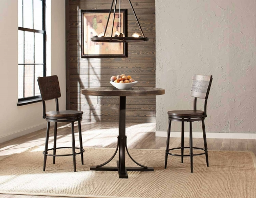 Jennings 3 Piece Counter Height Dining Set with Swivel Counter Height Stools - Walnut Wood/Brown Metal