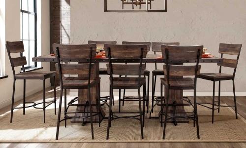 Jennings 9-PC Rectangle Counter Height Dining Set - Walnut Wood/Brown Metal