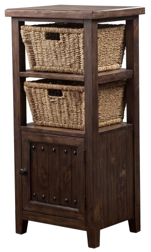 Tuscan Retreat Basket Stand with 2-Baskets - Mocha