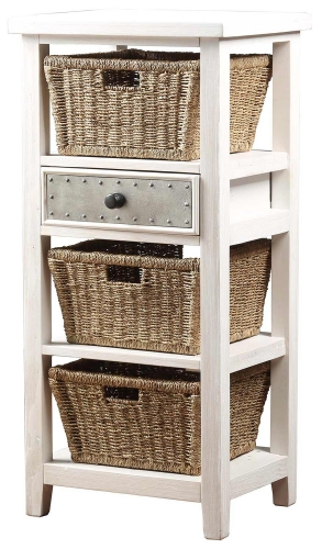 Tuscan Retreat Basket Stand with 3-Basket - Frost/Pewter