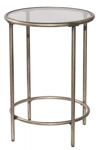 Corbin End Table with Top Glass Shelf - Silver/Black