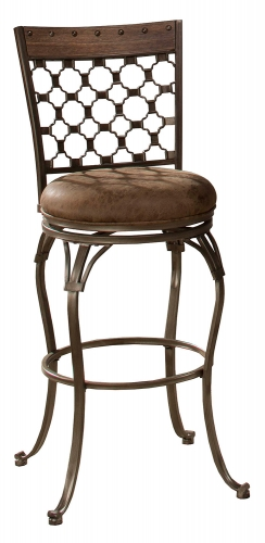 Lannis Swivel Bar Stool - Brown/Grey