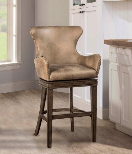Caydena Swivel Bar Stool - Rustic Gray