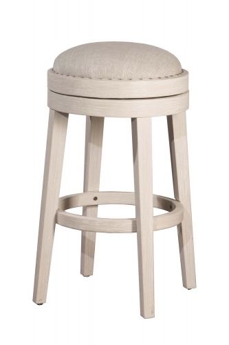 Carlito Backless Swivel Counter Stool - White