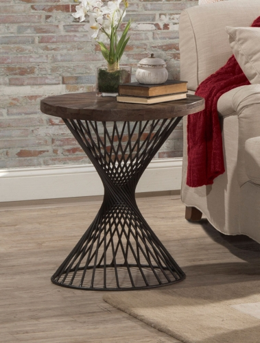 Kanister End Table - Walnut Wood/Dark Pewter Metal