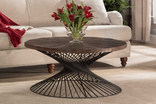 Kanister Coffee Table - Walnut Wood/Dark Pewter Metal
