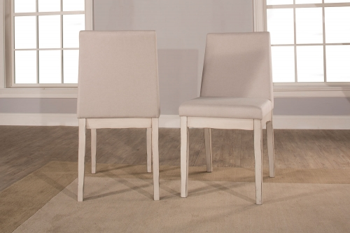 Clarion Upholstered Dining Chair - Sea White - Fog Fabric