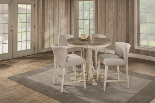 Clarion 5-Piece Round Counter Height Dining Set with Wing Arm Stools - Gray/White