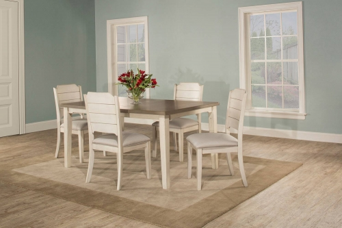 Clarion 5-Piece Rectangle Dining Set with Side Chairs - Sea White - Fog Fabric