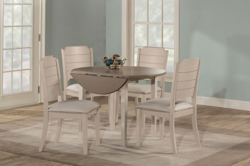 Clarion 5-Piece Round Dining Set - Sea White