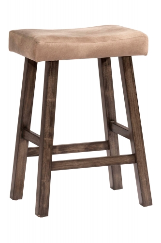 Saddle Non-Swivel Backless Bar Stool - Gray - Taupe Faux Leather
