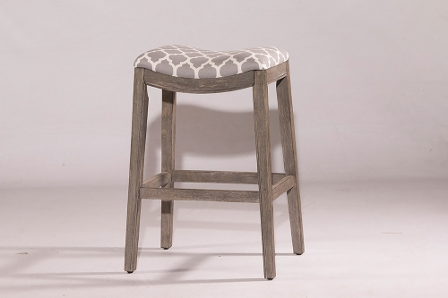 Sorella Non-Swivel Bar Stool - Gray - Trellis Gray Fabric