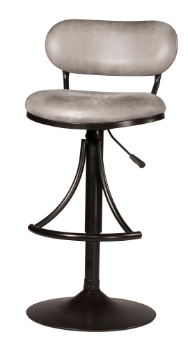 Athena Swivel Counter/Bar Stool - Black - Gray Fabric