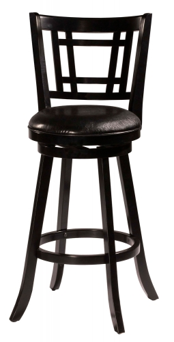 Fairfox Swivel Bar Stool - Black Faux Leather
