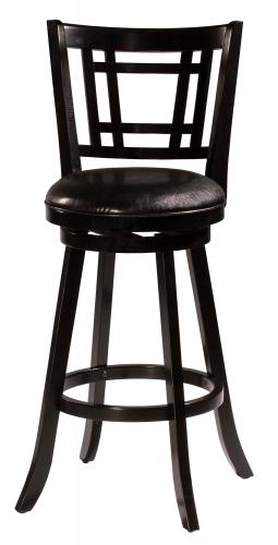 Fairfox Swivel Bar Stool - Black Faux Leather