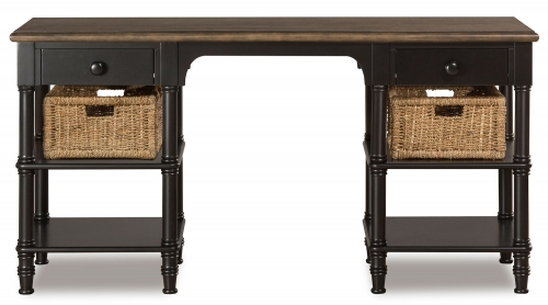 Seneca Desk with 2 Baskets - Waxed Black/Natural Seagrass