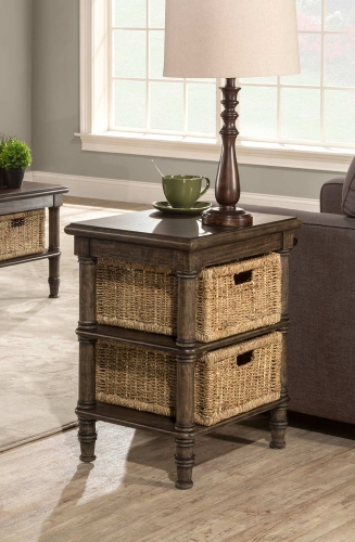 Seneca End Table with 2 Baskets - Walnut/Natural Seagrass