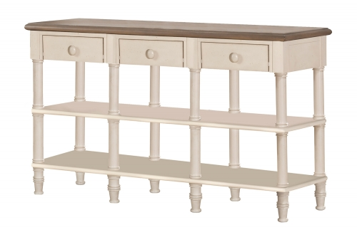 Seneca Sofa Table with 3 Drawers - Driftwood/Sea White