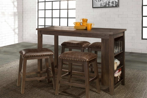 Spencer 5 Piece Counter Height Dining Set with Backless Counter Height Stools - Dark Espresso