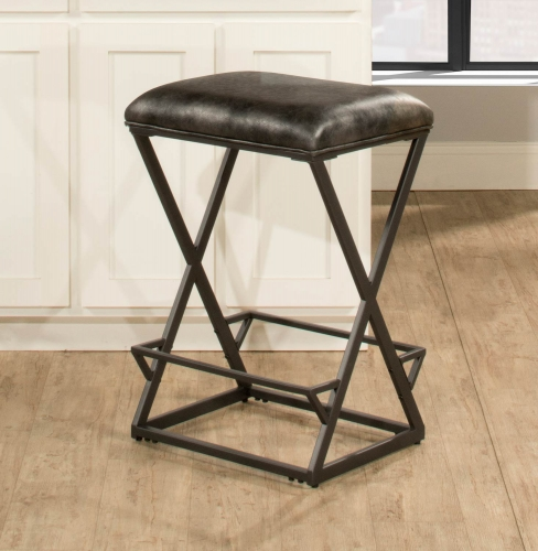 Kenwell Backless Non-Swivel Counter Stool - Charcoal