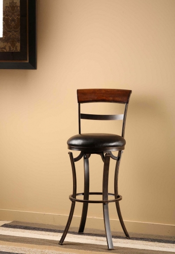 Kennedy Swivel Counter Stool with Cherry Finished Panel Top - Black/Gold
