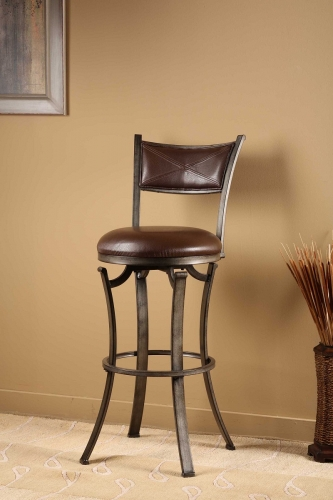 Drummond Swivel Bar Stool - Rubbed Pewter