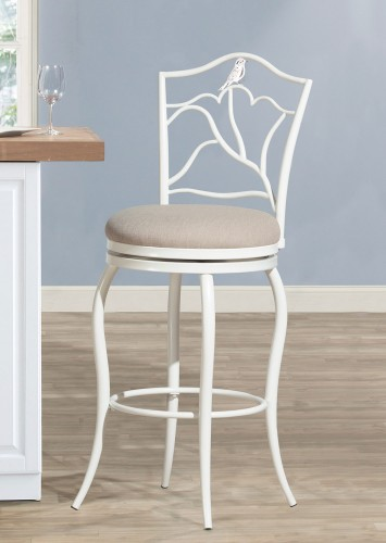 Avienne Swivel Bar Stool - White