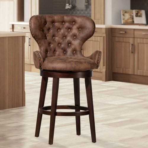 Mid-City Wood and Upholstered Swivel Counter Height Stool - Chocolate