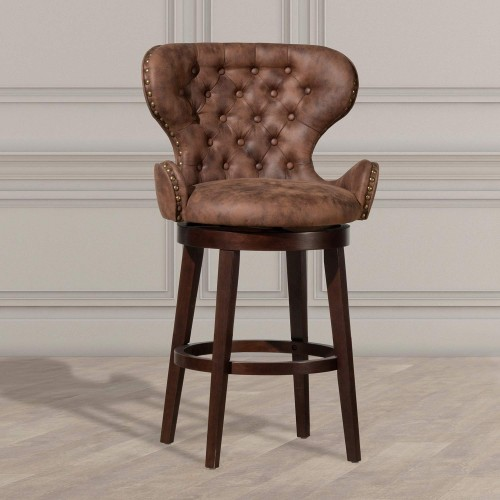 Mid-City Wood and Upholstered Swivel Bar Height Stool - Chocolate