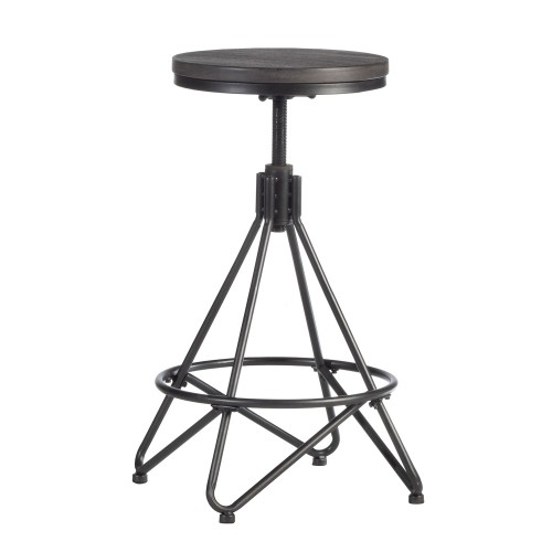 Stella Industrial Backless Metal Swivel Adjustable Height Stool - Gray