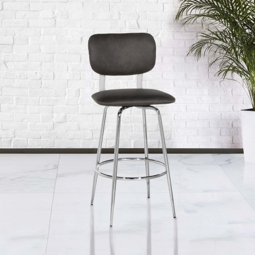 Bloomfield Retro Metal Swivel Bar Height Stool - Chrome- Set of 2
