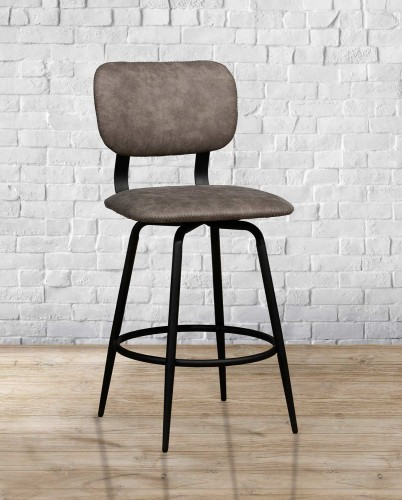 Bloomfield Retro Metal Swivel Bar Height Stool - Matte Black- Set of 2