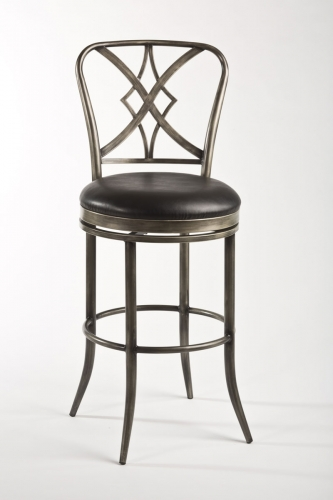 Jacqueline Swivel Counter Stool - Pewter Rub/Black