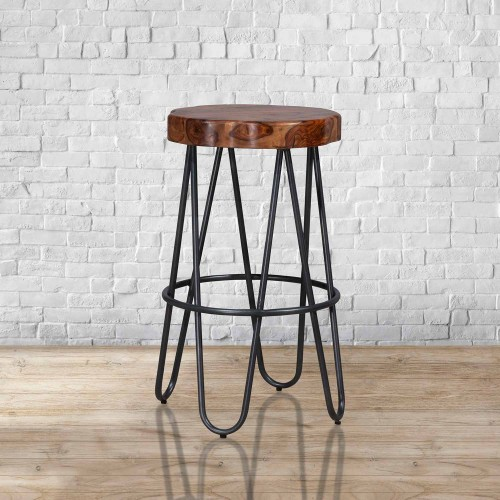 Pembra Backless Bar Height Stool - Natural Sheesham