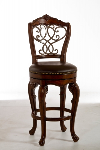 Burrell Swivel Bar Stool - Dark Brown