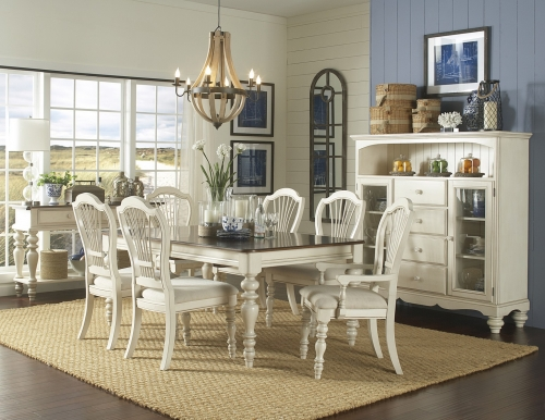 Pine Island 7 PC Dining Set with Wheat Back Chairs - Old White
