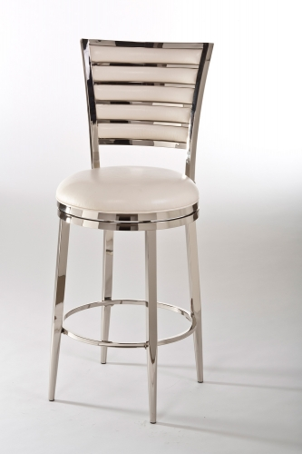 Rouen Swivel Bar Stool - Shiny Nickel/Ivory PU