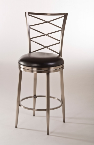 Harlow Swivel Counter Stool - Antique Pewter/Black Vinyl