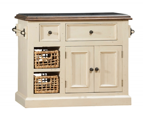 Tuscan Retreat Small Granite Top Kitchen Island with 2 Baskets - Country White