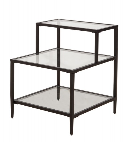 Harlan 3-Tier End Table with 2-Large and 1-Small Glass Shelves - Black