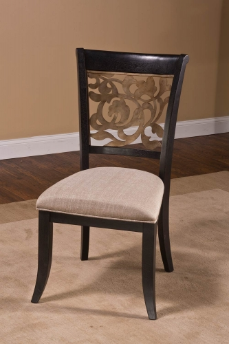 Bennington Dining Chair - Black Distressed Gray - Putty Fabric