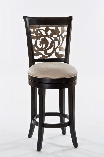 Bennington Swivel Bar Stool - Black Distressed Gray - Putty Fabric