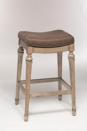 Vetrina Backless Non-Swivel Counter Stool - Weathered Gray - Gray Fabric
